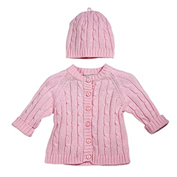 d8a355380b4b Amazon.com   Elegant Baby Cable Knit Cardigan Sweater and Hat Set 6 ...