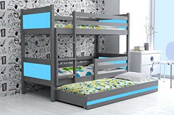 Kinderbett Triple Rino 190 X 90 Für Jungen, Etagenbett Mit Dritten  Rollbett, Kinderzimmer Für