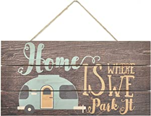 INNAPER Home is Where We Park It Wooden Plank Sign 10x5