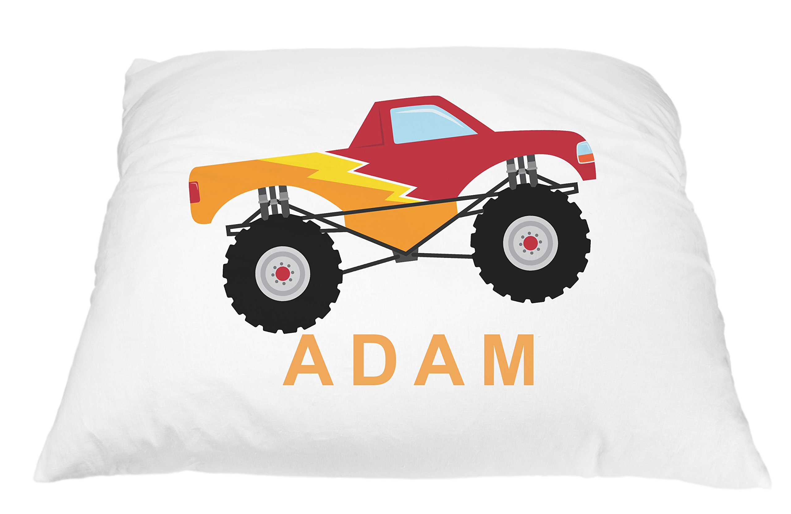 Monster Truck Personalized Kids Pillowcase, Truck Pillow, Toddler Pillowcase, Truck Pillowcase, Best Toddler Pillow, Monster Truck Pillow Microfiber Pillowcase 20x30 Inches (Red) by Pillows2