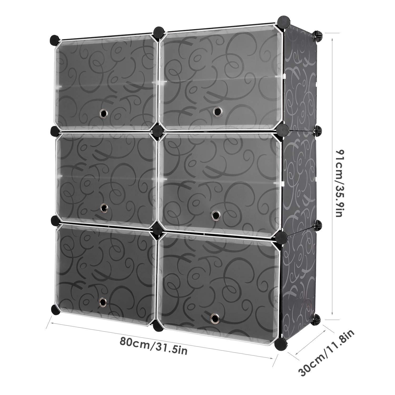 Homfa 10 Cube Shoe Rack Diy Cubes Storage Organizer Multiuse Modular Closet Plastic Cabinet With Doors And Extra Hooks For Entryway Hallway Living