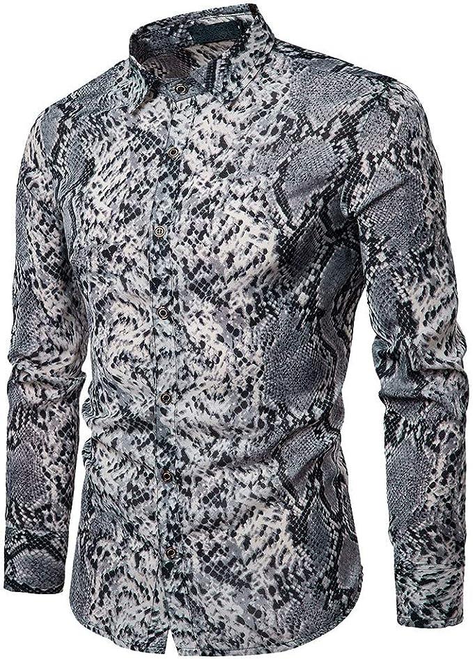 Sencillo Vida Camisas de Hombre de Vestir Manga Larga Estampadas Piel de Serpiente Delgada Slim Fit Camisa Hombres Casual Formales Clásico Cuello de Solapa con Botones para Hombre: Amazon.es: Ropa y accesorios