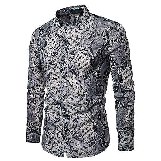 938d284cedec DDLmax Shirt for Men Spring Casual Slim Fit Snakeskin Shirts Printed Long  Sleeve Button Shirt Top