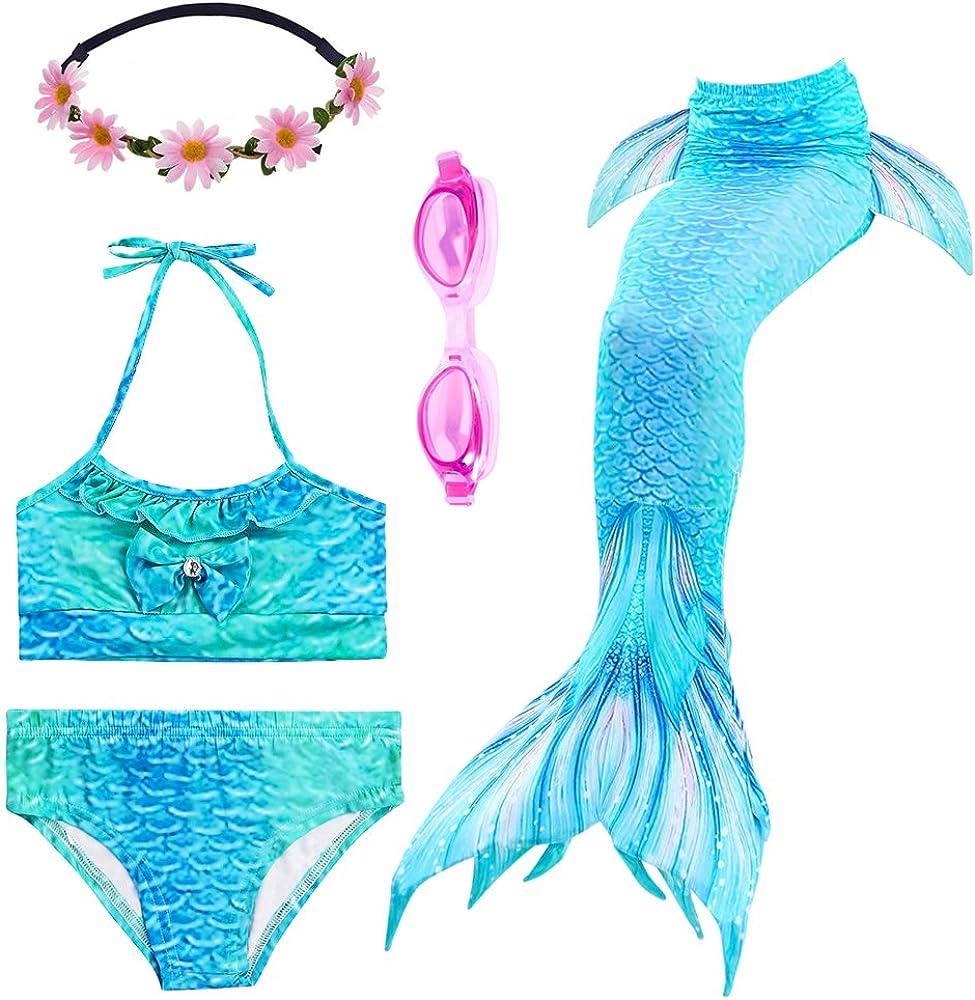 PalmTalkHome 3PCS Conjunto de Bikini de Sirena niñas Traje de Baño de la Cola con Guirnalda y Gafas de natación