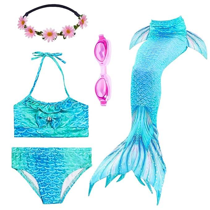 PalmTalkHome 3PCS Conjunto de Bikini de Sirena niñas Traje de Baño de la Cola con Guirnalda y Gafas de natación: Amazon.es: Ropa y accesorios