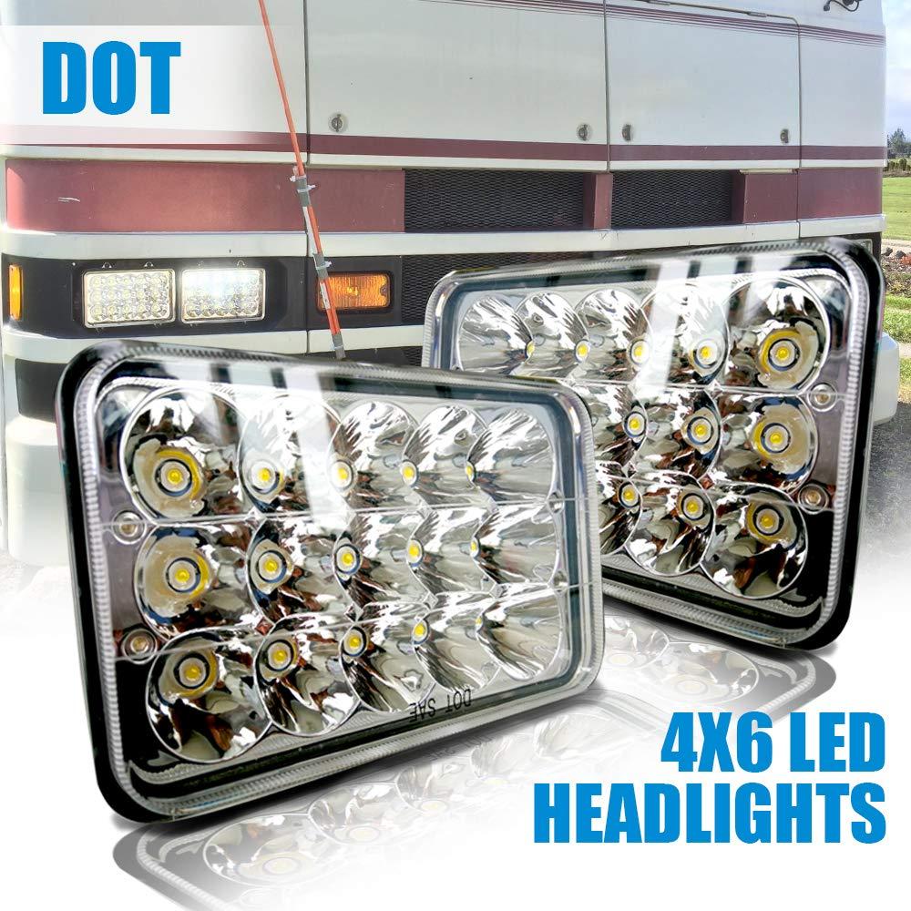 DOT Rectagular Sealed Beam 4X6 Projector Lens Headlight Assemblies Hi/Lo  Replace Hid Xenon Halogen Bulb Headlamps 12-24V Freightliner FLD120  Peterbilt