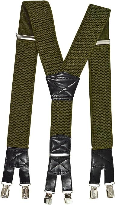 Olata Bretelle Extra Largo XXL 5cm larghezza Extra Forte 4 Clip X-Forma Tessuto Spesso