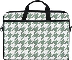 JSTEL Pied De Poule Houndstooth Laptop Shoulder Messenger Bag Case Sleeve for 14 inch to 15.6 inch with Adjustable Notebook Shoulder Strap