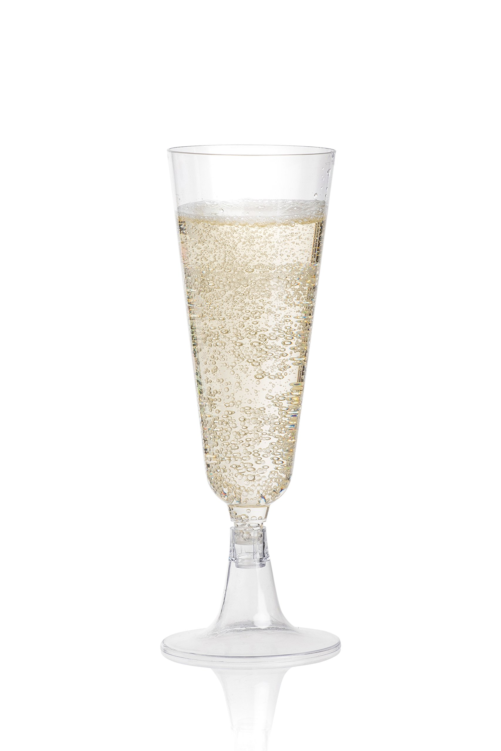 DRINKET Plastic Champagne Flutes 5oz Cups Toasting Glasses 2 Piece Champagne Flutes Set Bulk 100 Disposable Pk Shatterproof for Wedding Mimosa Bar Wine Party Supplies by Prestee