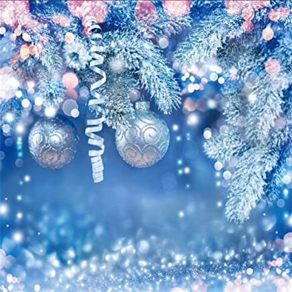 Christmas Ornaments Background.Amazon Com Lfeey 10x10ft Winter Snow Bokeh Backdrop Blue