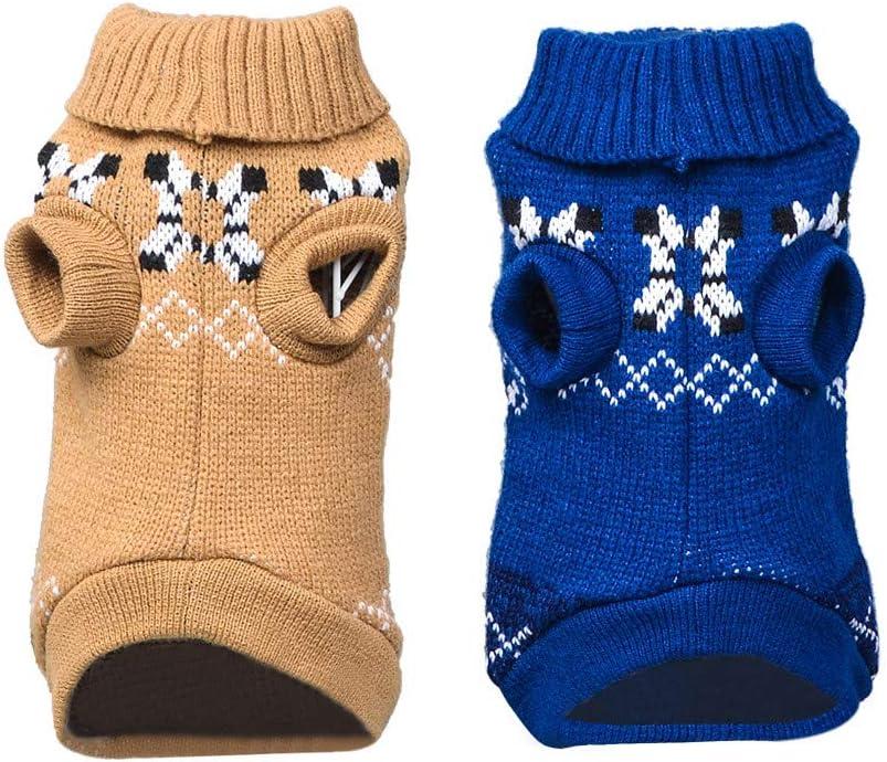 Allegorly Haustier Hunde Sweatshirt Mini H/ündchen Welpe Hoch Kragen Wolle Sweater Winter Warme S/ü/ß Weihnachten Gestrickt H/äkeln Hundemantel Weich Elastisch Hundejacke Shirt
