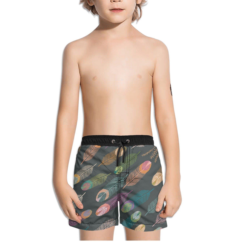 FullBo Feathers Southwest Pattern Little Boys Short Swim Trunks Quick Dry Beach Shorts