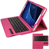 TECHGEAR® Samsung Galaxy Tab A 10.1 Inch (SM-T580 Series) PU Leather Case with Built in Detachable Bluetooth Wireless UK QWERTY Keyboard and Stand (PINK)