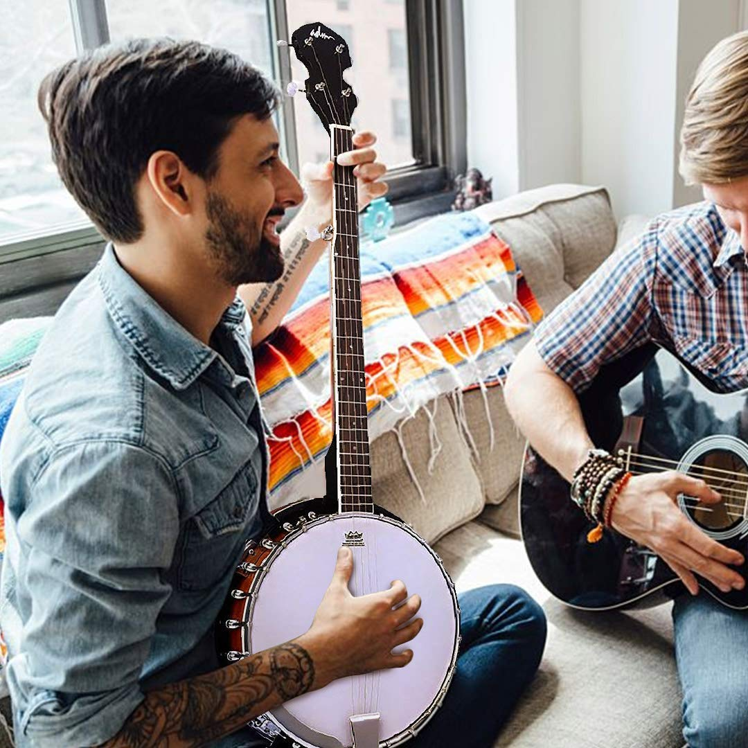 ADM 5-String Banjo 24 Bracket with Closed Solid Wood Back, Banjo Beginner Kit with Picks and Extra Strings by ADM (Image #5)