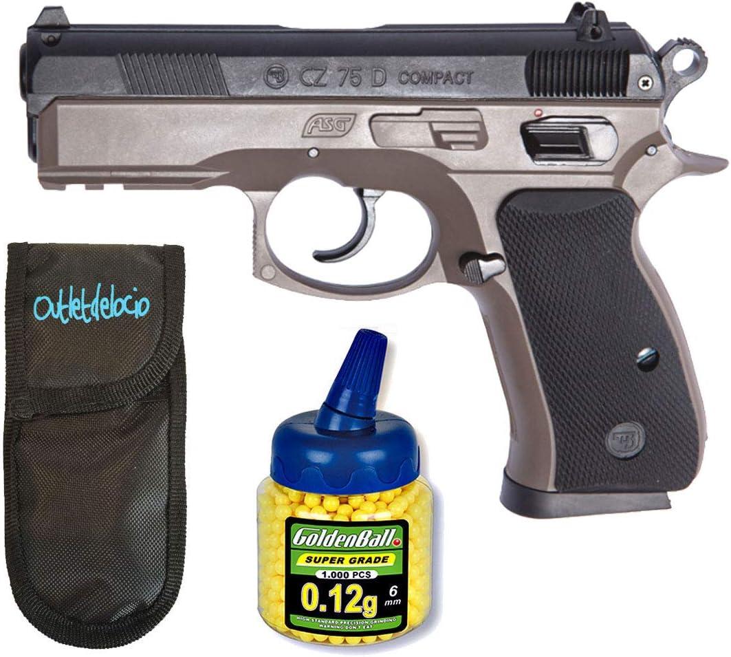 Outletdelocio. Pack Pistola Airsoft CZ 75D Compact FDE Duotone. Calibre 6mm. + Funda portabalines + Biberon 1000 Bolas. 23054/21993