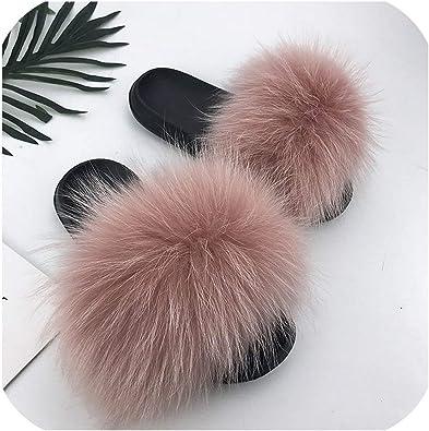 Real Raccoon Fur Slippers Women Sliders Casual Fox Hair Flat Fluffy Home Summer Flip Flops Shoes,Yellow,10.5