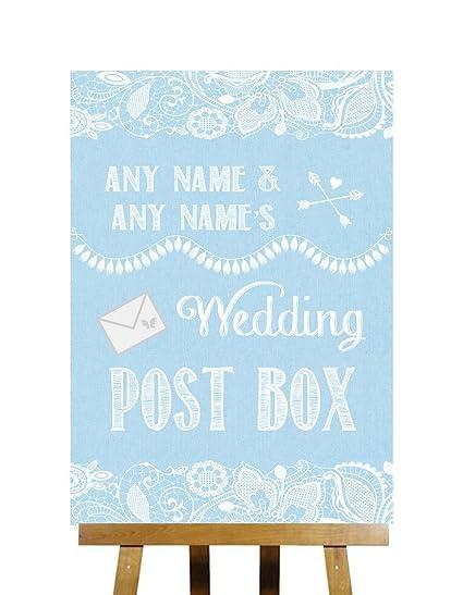 Azul cinta & Encaje colección tarjetas de buzón de correos ...