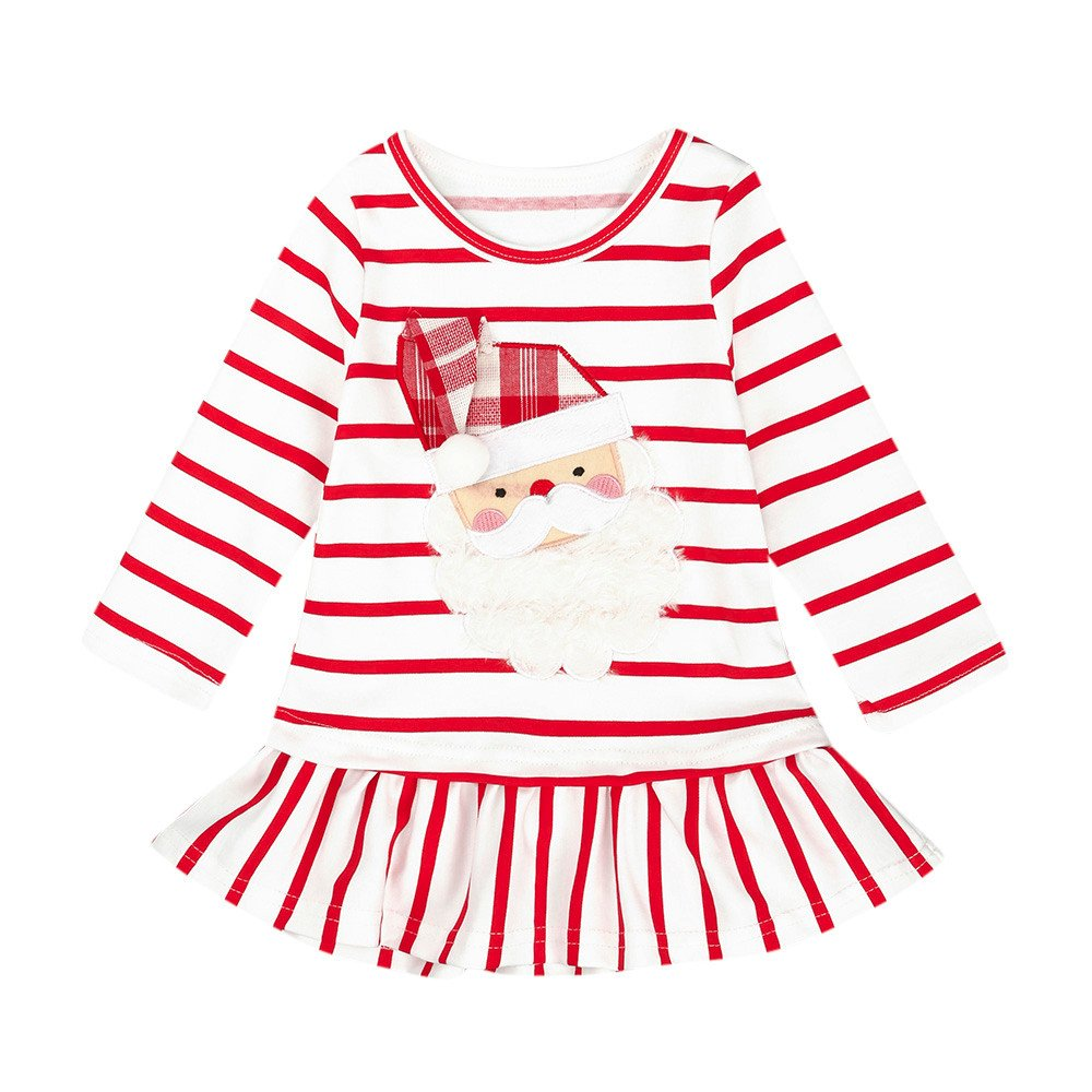 Jchen(TM) Little Girl Striped Dress Kid Baby Girl Princess Striped Santa Print Christmas Party Princess Dress for 0-5 Y (Age: 3-4 Years Old, White)