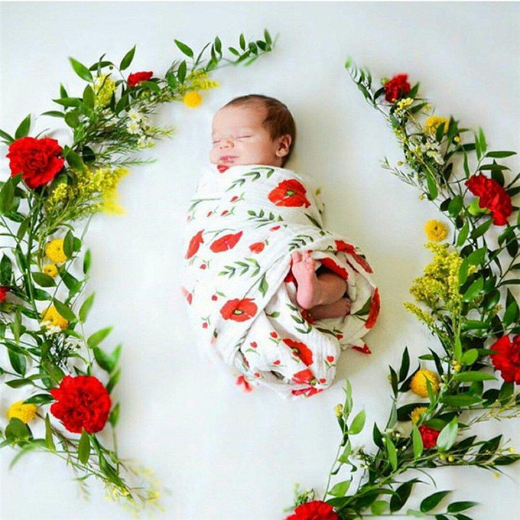 Fityle Baby Boy Girl Muslin Cotton Receiving Blanket Infant Sleep Bedding Wrap Swaddle Pink flower 120x120cm