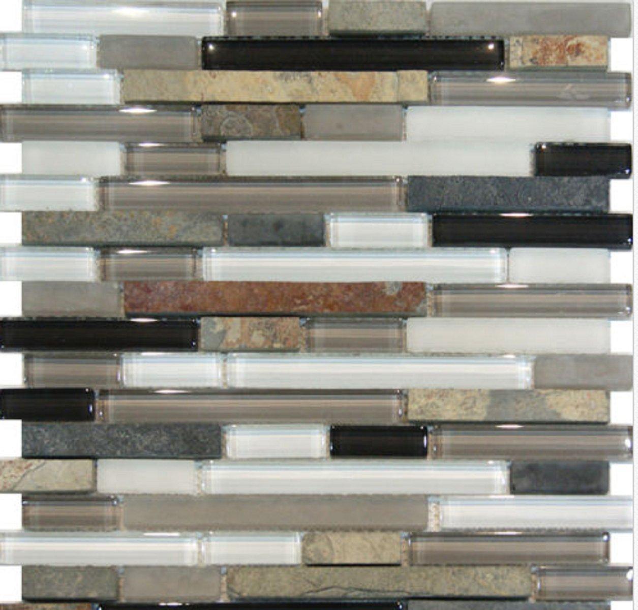 USA Premium Store 10SF-Slate Stone & Glass Gray White Linear Mosaic Tile Backsplash Kitchen Spa Si