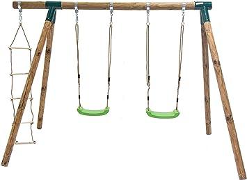 MASGAMES Columpio de Madera KADI Deluxe con Dos Asientos de plastico con Cuerdas y Escalera de Cuerda: Amazon.es: Juguetes y juegos