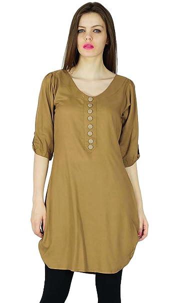 Diseñador Phagun india Kurta ocasional Brown de las mujeres Sólido Rayón Kurti Top vestido de la