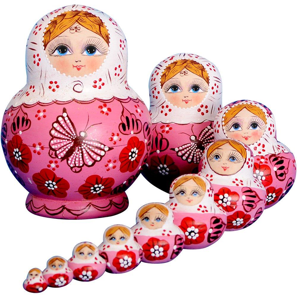 YAKELUS 10pcs Russian Nesting Dolls Matryoshka handmade01071 by YAKELUS
