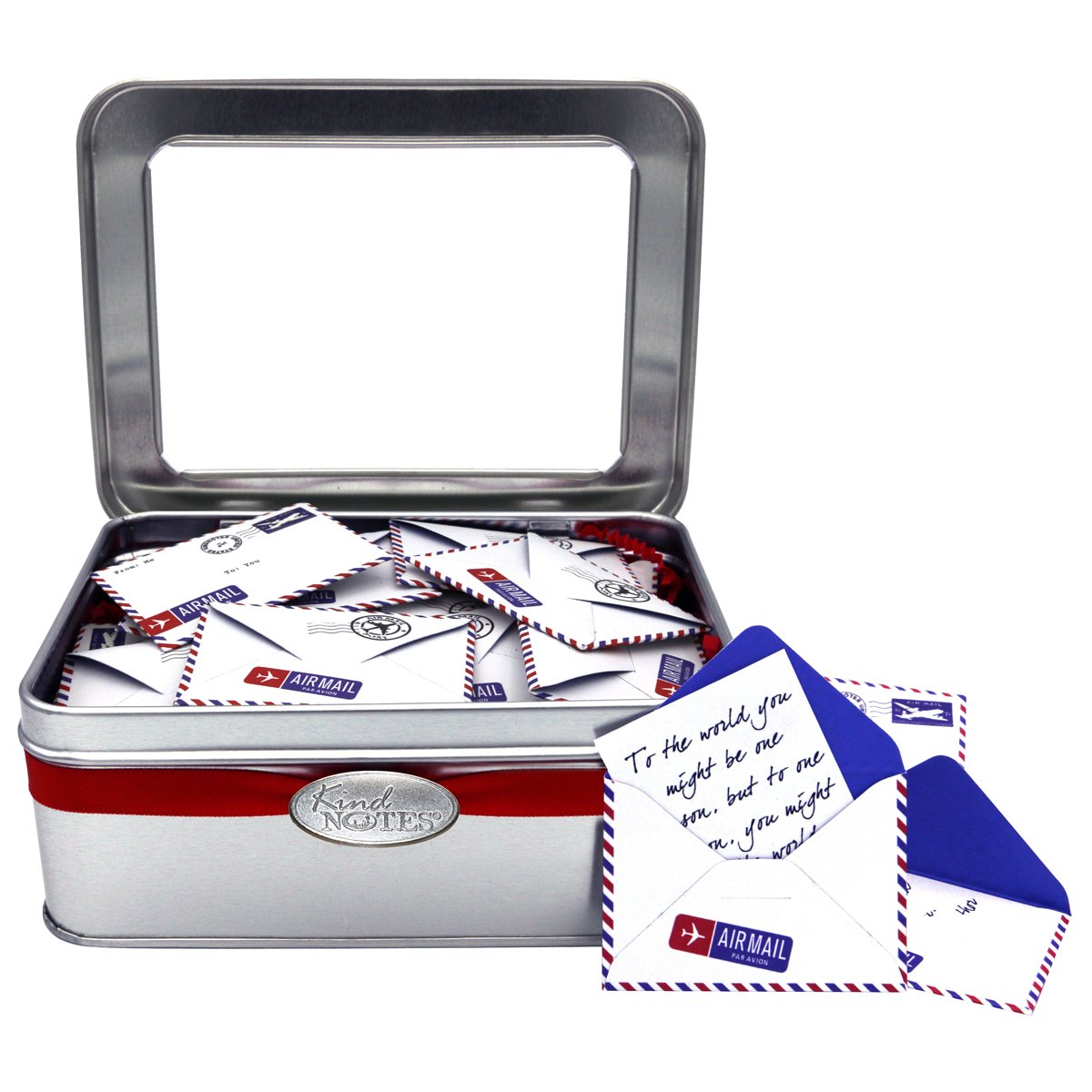 KindNotes Tin INSPIRATIONAL Keepsake Gift Box of Messages for Him or Her Birthday, Thank you, Anniversary, Just Because - Airmail Red