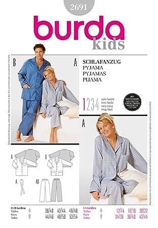 Burda 2691 Schnittmuster Schlafanzug (Damen & Herren, Gr. 38-48/44-54) – Level 1 super Easy