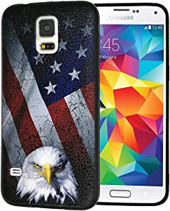 Galaxy S5 Case,Bald Eagle American Flag Slim Anti-Scratch Shockproof Leather Grain Soft TPU Back Protective Cover Case for Samsung Galaxy S5