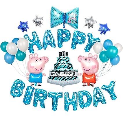 Amazon Com Boys Birthday Party Balloons Blue Bowknot Birthday Cakes