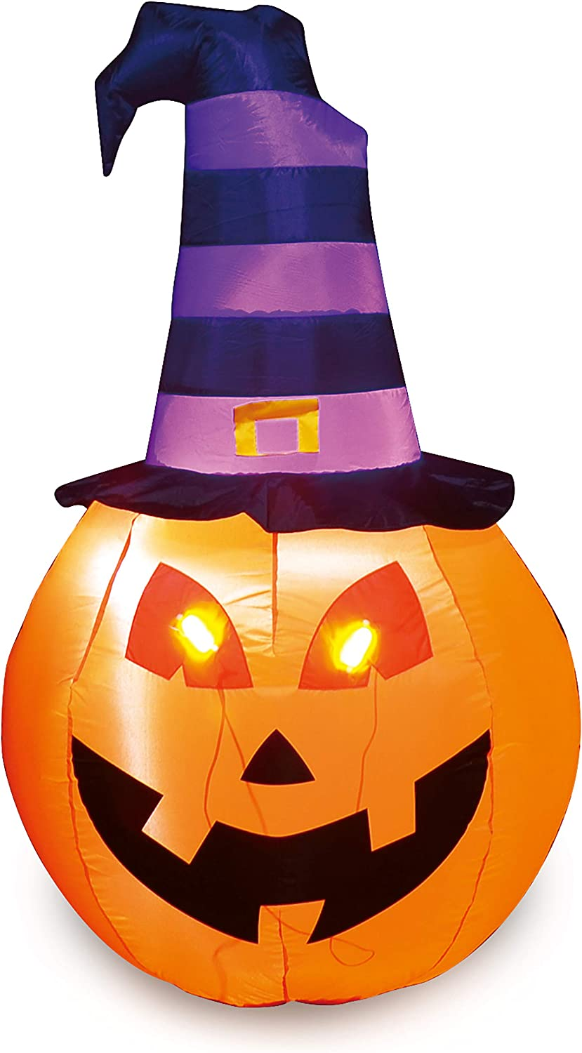 Joiedomi Halloween 5 FT Inflatable Pumpkin Witch with Build-in LEDs Blow Up Inflatables for Halloween Party Indoor, Outdoor, Yard, Garden, Lawn Decorations