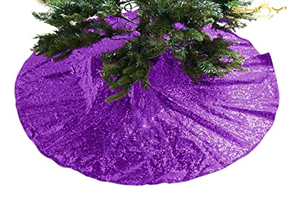 Shinybeauty Sequin Tree Skirt Royal Purple 24inch Christmas Tree Skirt Embroidered Sparkly Purple Xmas Tree Ornament Christmas Decoration For Gift