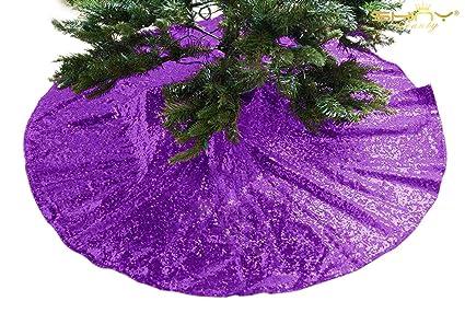 shinybeauty christmas tree skirt 36inch purple glitter sequin tree skirt royal purple elegant tree skirt