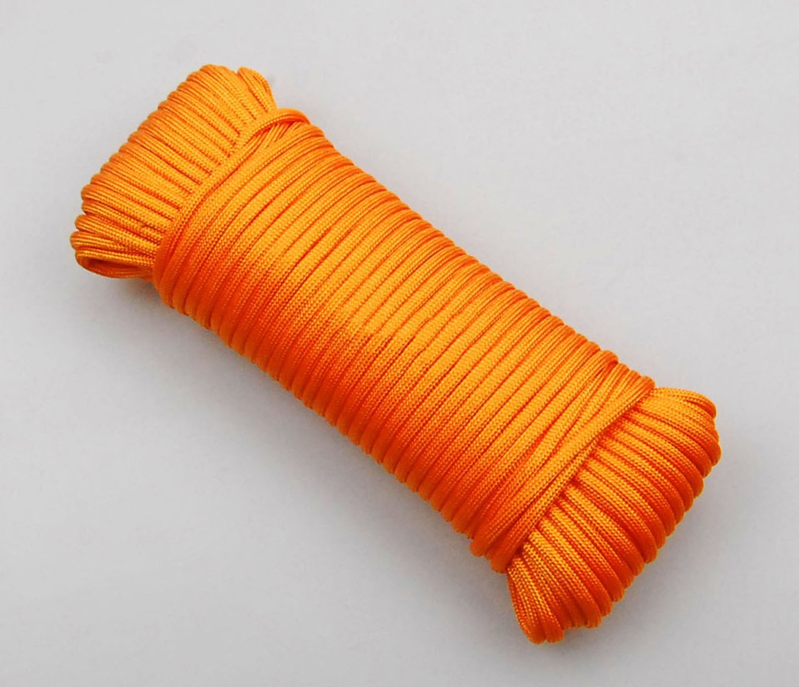 Jaune Cordelettes D'escalade Tente Extérieure Corde 4 Mm (10 Yards 32ft) De Diamètre (20 M 64ft) (30 Yards 94ft) (40 Yards 131ft) Accessoire Pour Cordon Le 30 Kg De Charge Maximale Admissible Le Nylon 30m