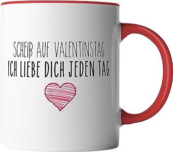 """Kaffeetasse mit Wunschname und Spruch /""""Scheiß auf Valentinstag/"""" personalisiert"""