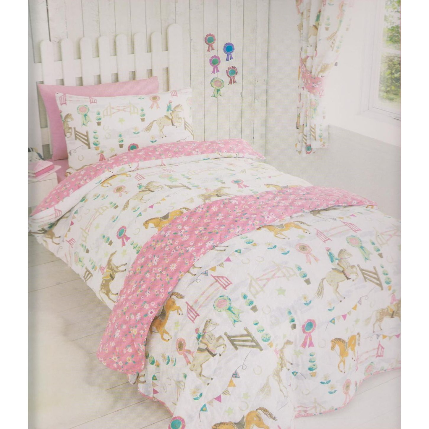 amazoncom horses animals girls quilt duvet cover pillowcase bedding bed set uk single us twin home kitchen - Horse Bedding
