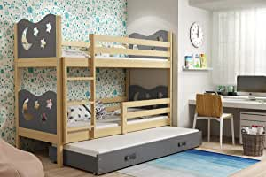 Litera infantil con cama nido Max para niños, 3 camas de 190 x 90 cm con marco de madera y colchones incluidos: Amazon.es: Hogar