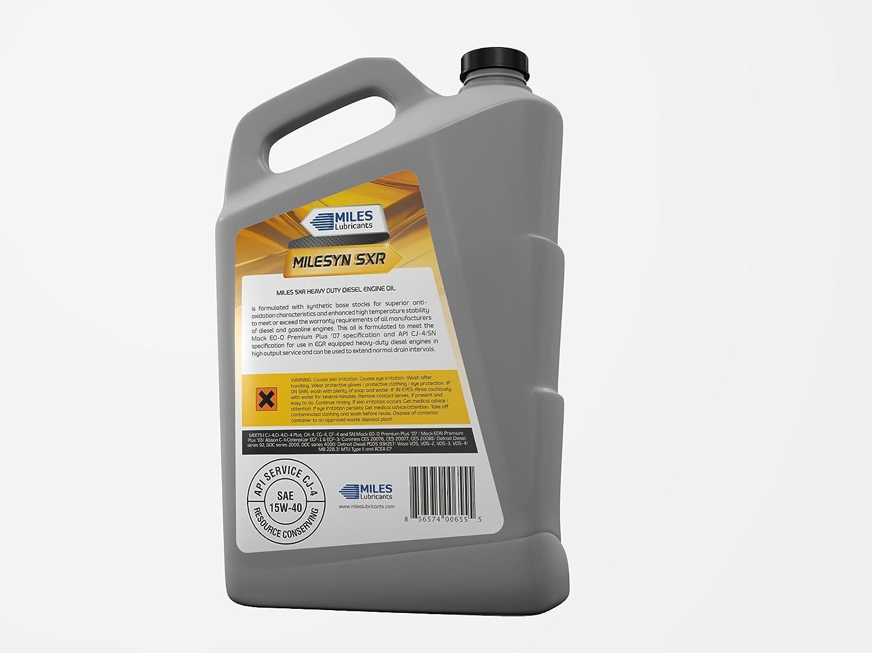 Amazon.com: Milesyn SXR 15W40 API CK-4, Full Synthetic Diesel Motor Oil, 5 quart Bottle (Pack of 4): Industrial & Scientific