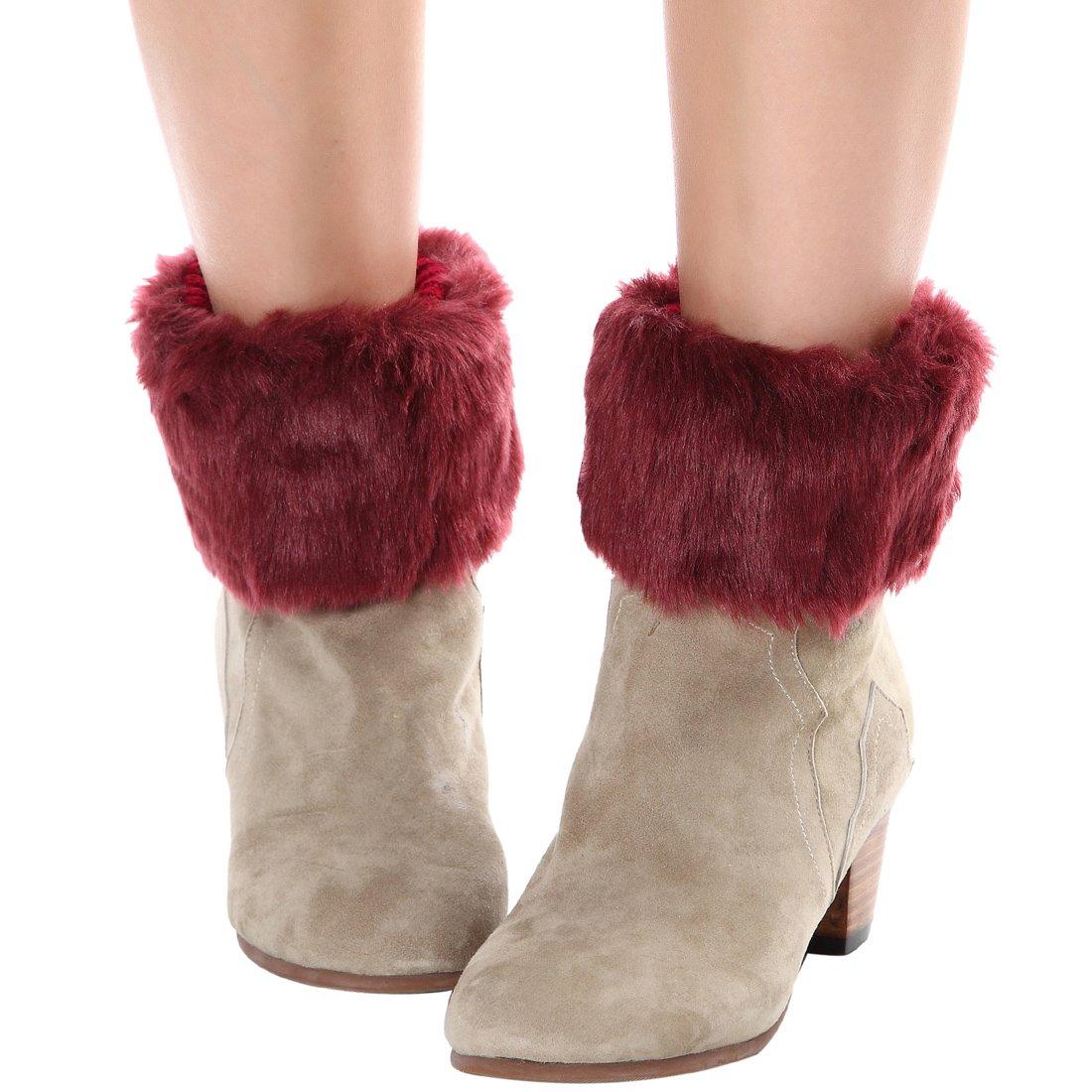 b3d34c35e FAYBOX Women Winter Faux Fur Boot Cuff Knitting Leg Warmers Short  WCA10031BLK