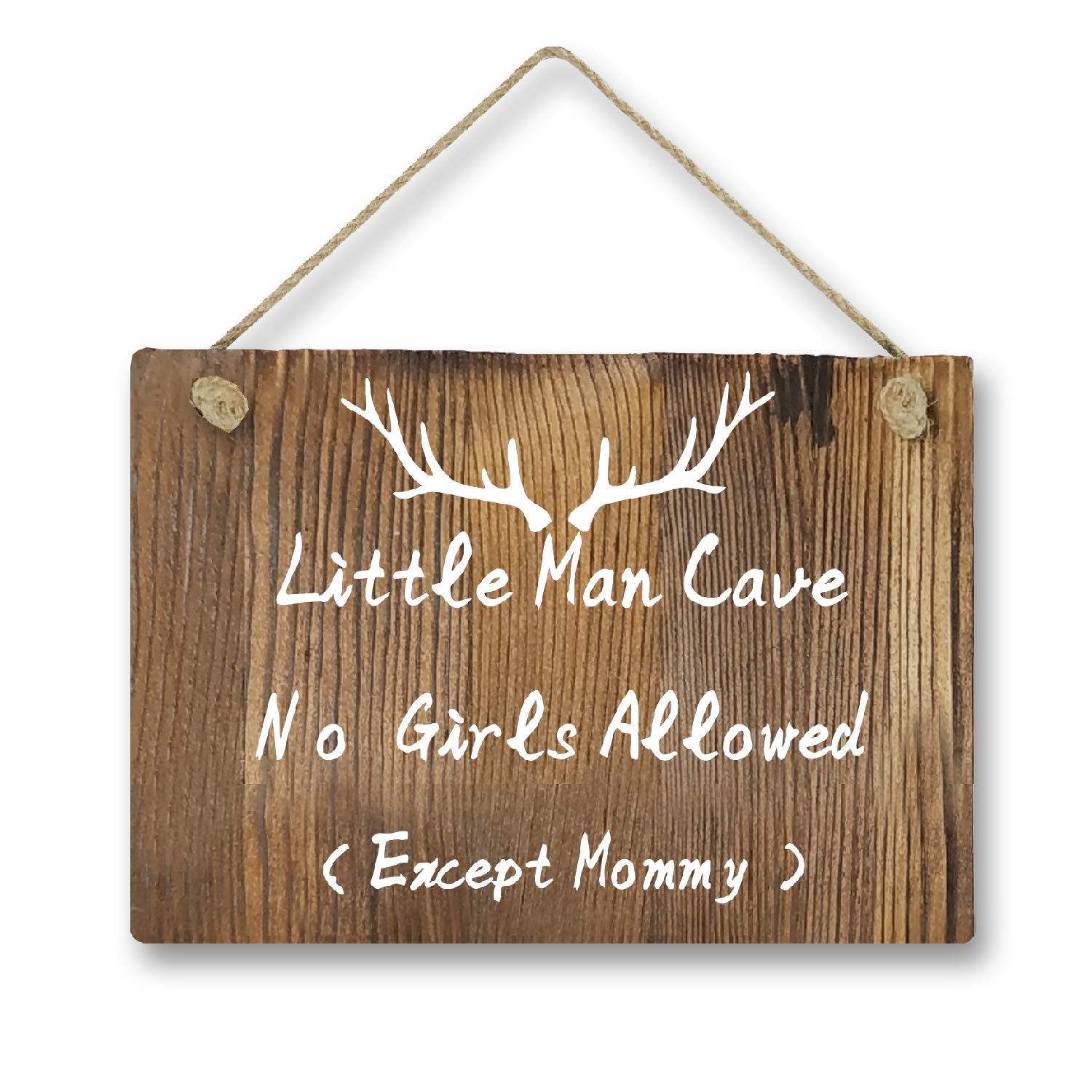 Agantree Art Little Man Cave No Girls Allowed Except Mommy Antler Woodsy Rustic Front Door Hanger Wood Decor Sign for Kids Boys Nursery Bedroom