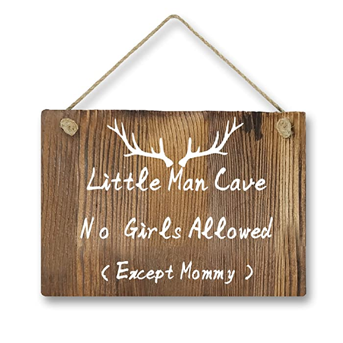 Agantree Art Little Man Cave No Girls Allowed Except Mommy Antler Woodsy Rustic Front Door Hanger Wood Decor Sign for Kids Boys Nursery Bedroom