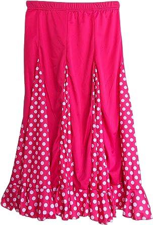 La Se/ñorita Spanish Flamenco dance skirt Children black red dots