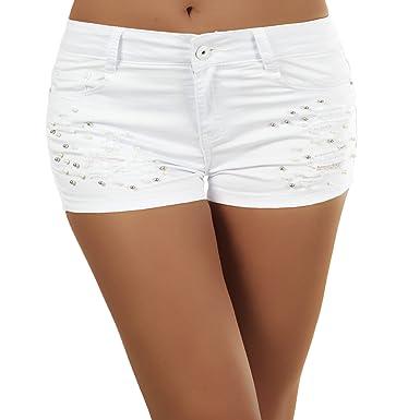 2c50bc2d9d8b N302 Damen Jeans kurze Hose Damenjeans Hot Pants Shorts Panty Normaler  Bund, Farben Weiß