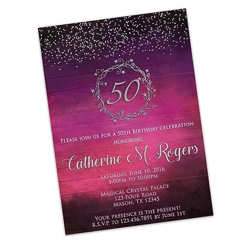 Amazon glitter purple pink birthday invitations for women 50th glitter purple pink birthday invitations for women 50th 60th any silver stars filmwisefo