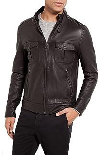 Mens Leather Jacket Slim Fit Biker Motorcycle Genuine Cow Leather Jacket Coat LFC1428