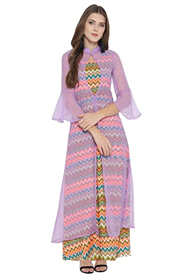 278b88260e02 cottinfab Women Lavender Printed Layered Maxi Dress  Amazon.in  Clothing    Accessories