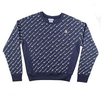 c753fe5511fa Champion Women s Reverse Weave All Over Diagonal Logo Crew Pullover ...