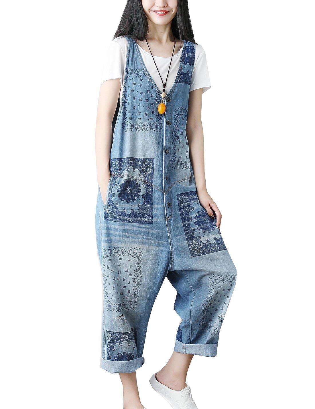 Flygo Womens 2018 New Loose Baggy Denim Wide Leg Floral Printed Jumpsuit Rompers Overalls Harem Pants
