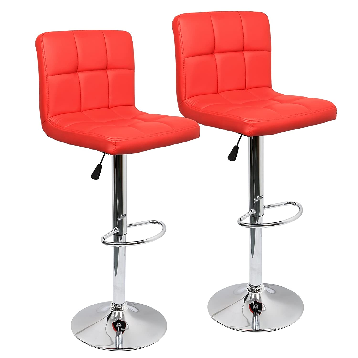 IntimaTe WM Heart Adjustable Swivel Bar Stools Set Of 2, Faux Leather Gas Lift Modern Square Kitchen Chairs With Back (Red)